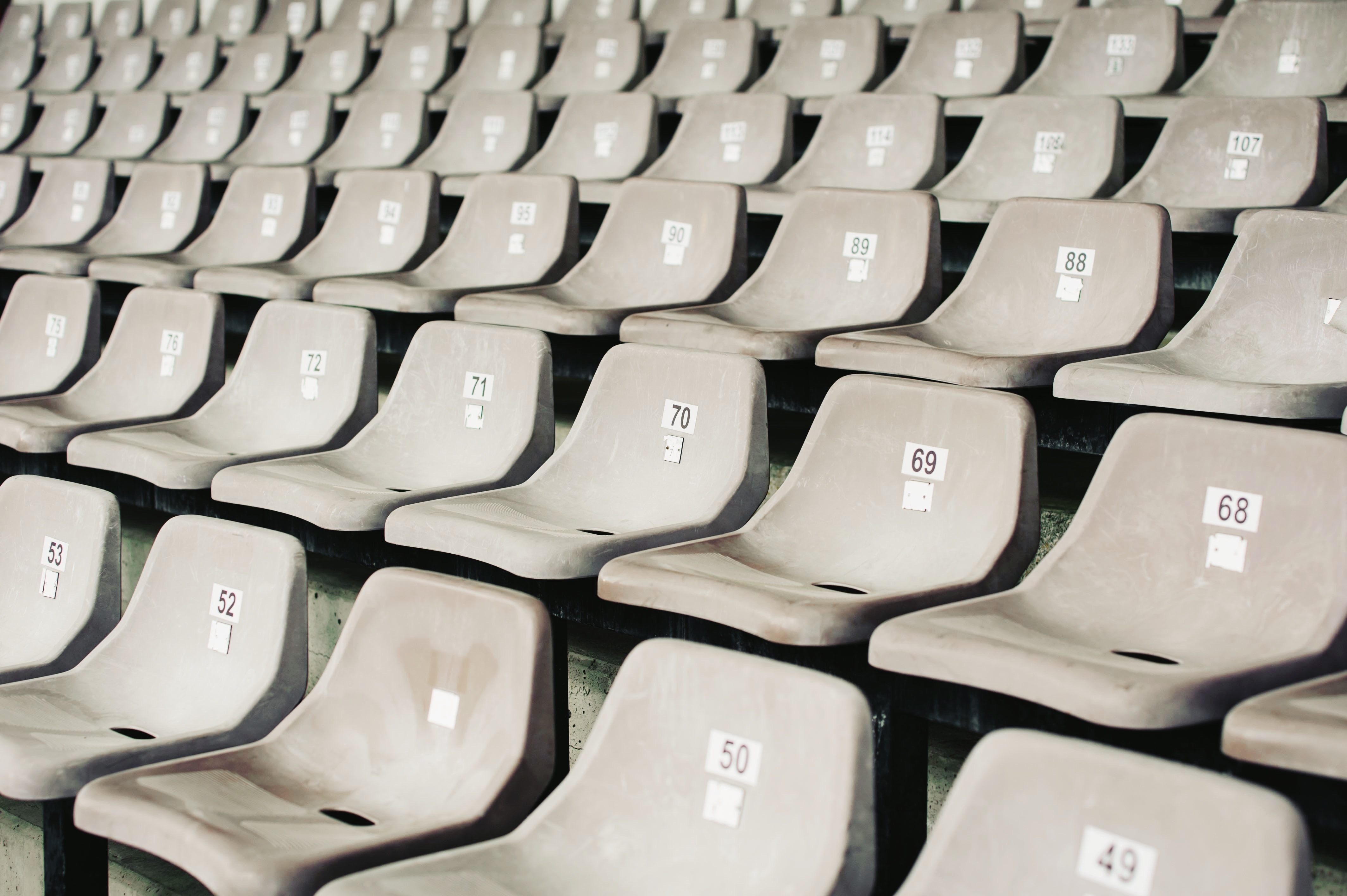 Numbered seats in a sports stadium