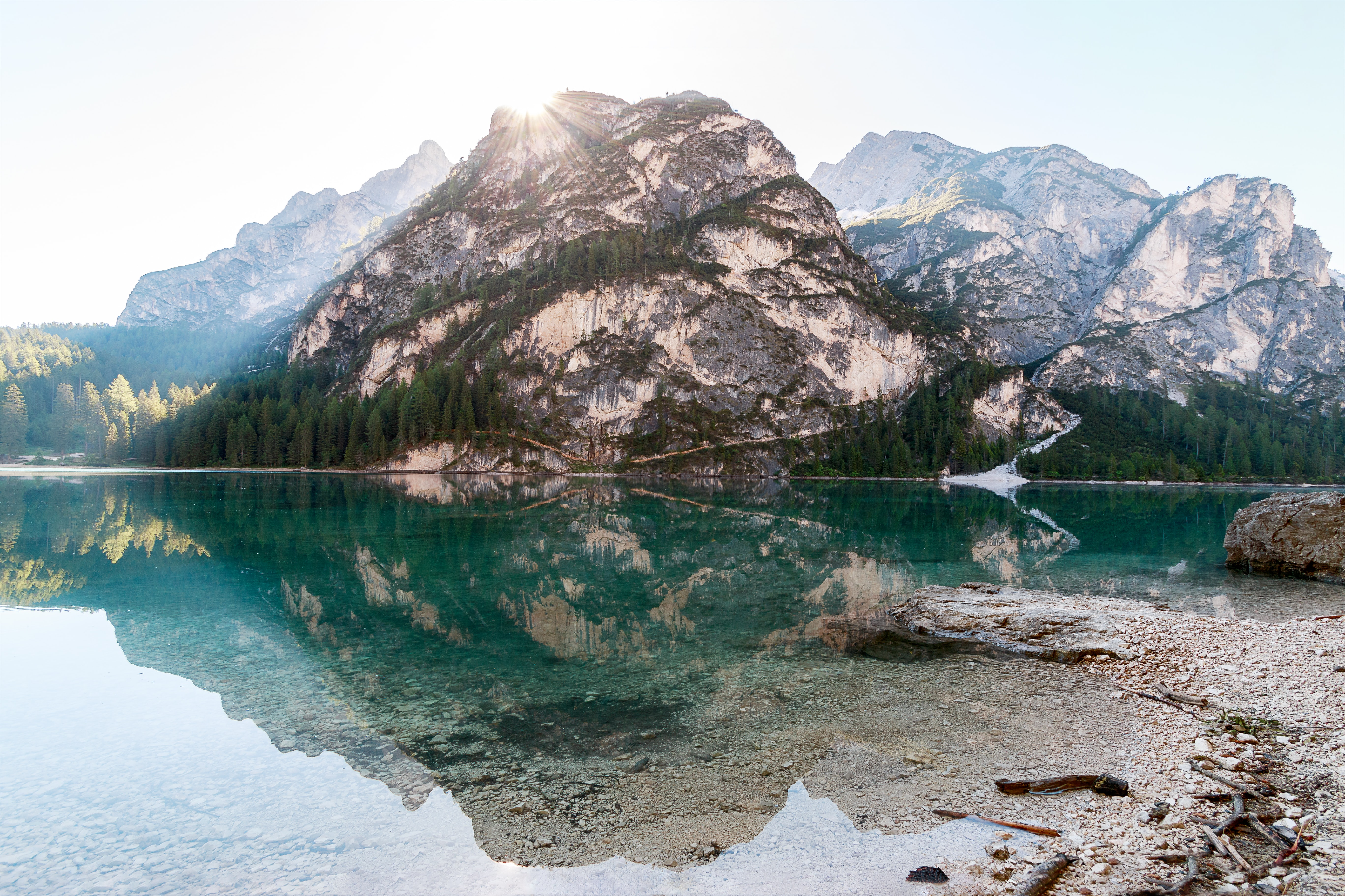 Mountains reflected in the crystal-clear Lake Pragser Wildsee