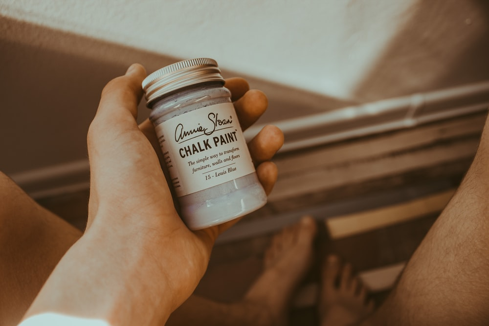 person's hand holding Chalk Paint bottle