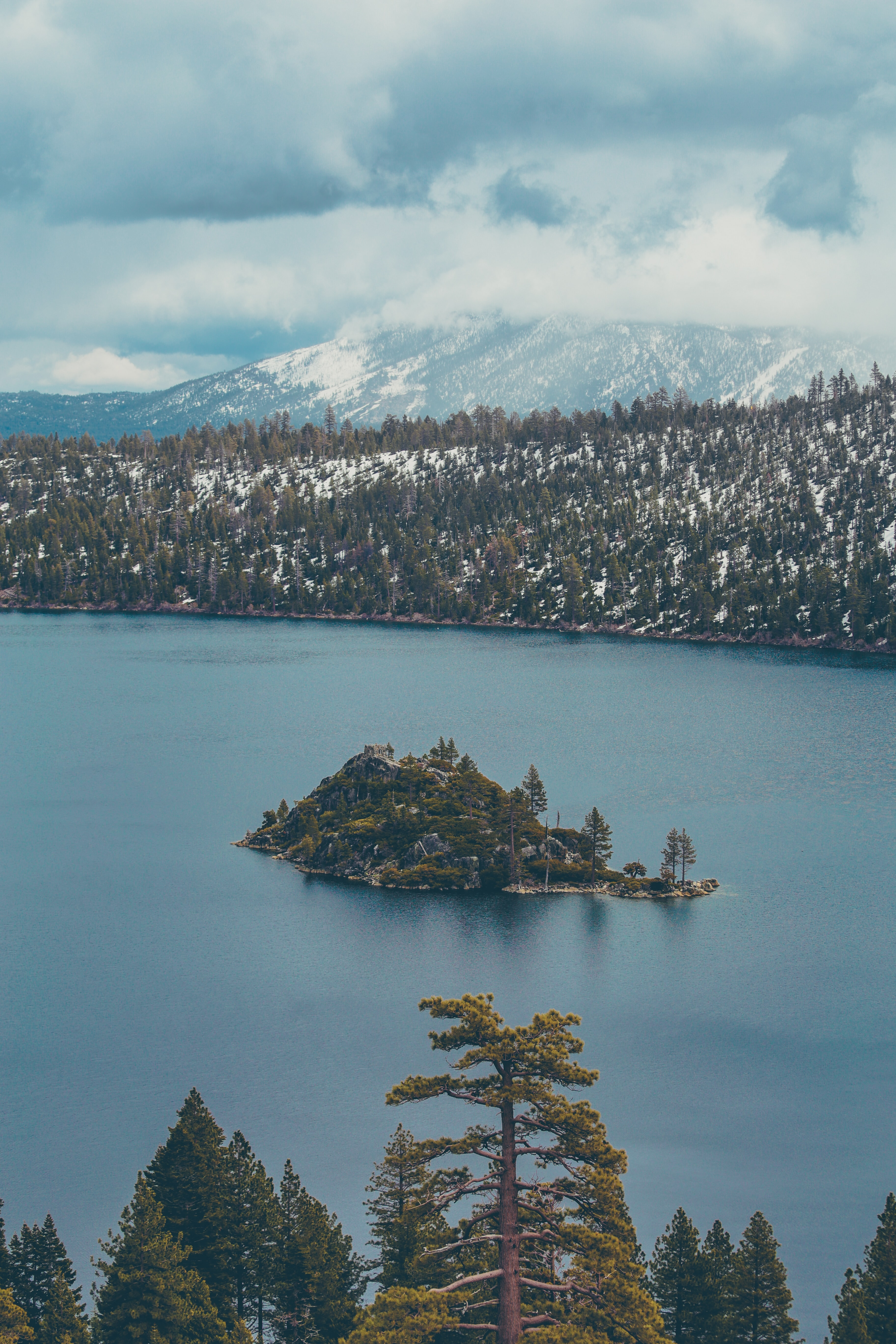A small island in the middle of the tree-lined Lake Tahoe