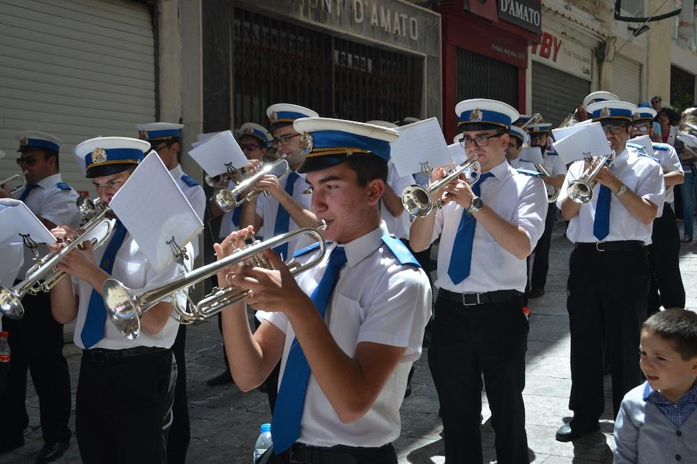 Sheet music, performing, marching band and band | HD photo