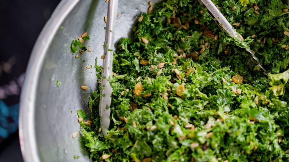 green vegetables on gray basin