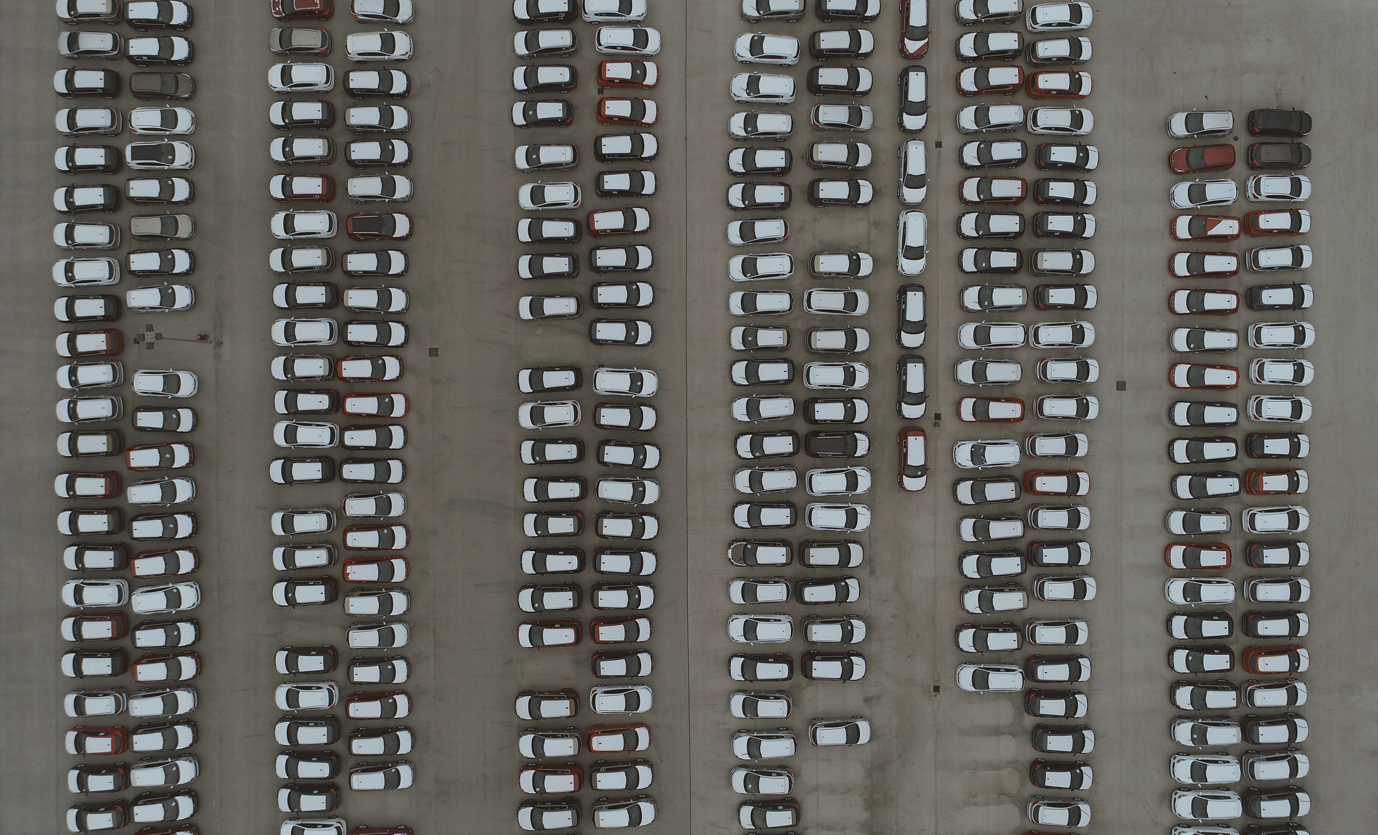 aerial photography of cars
