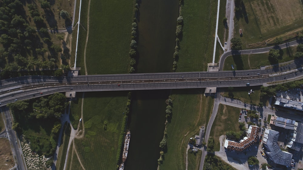 bird's eye view of bridge crossing body of water