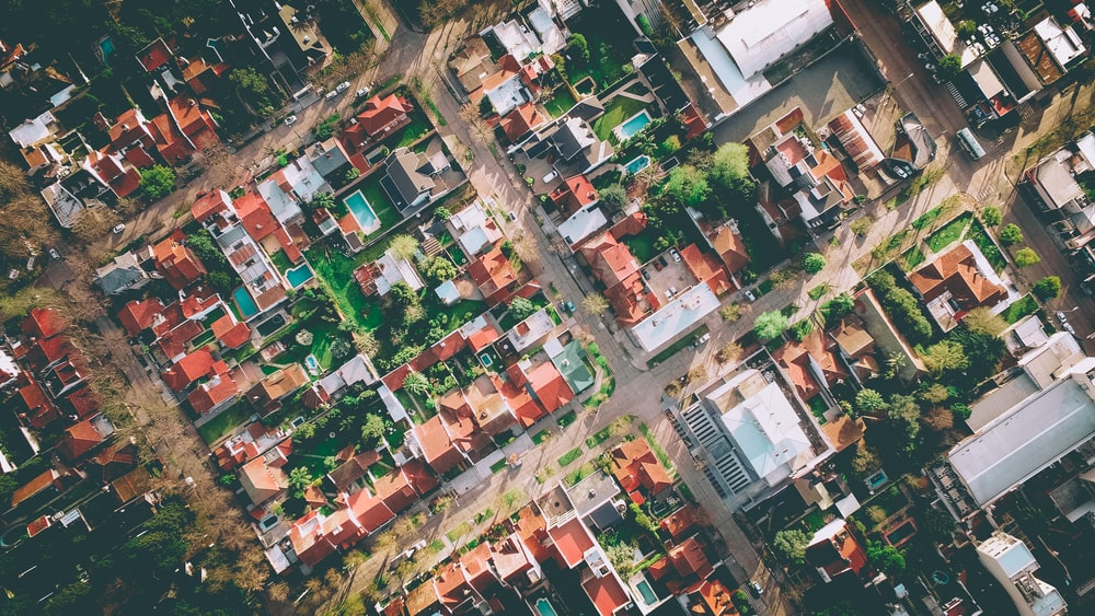 bird's eye view photography of city