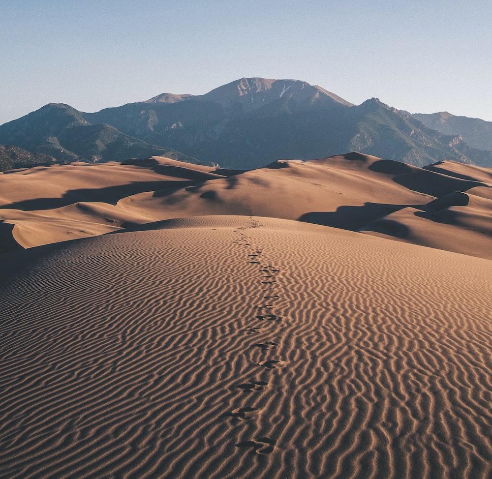 footprints on desert towards mountain