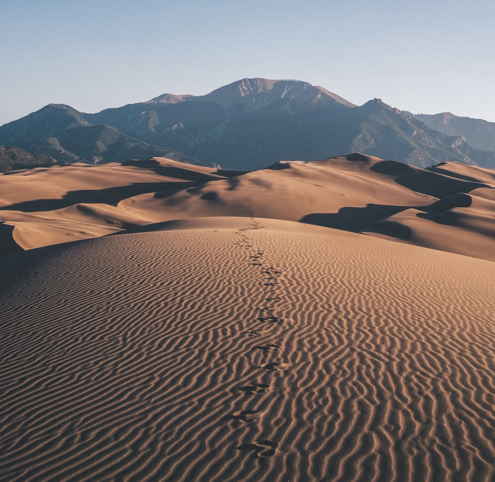 footprints on desert towards mountain