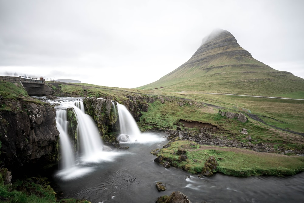 waterfall near mountain