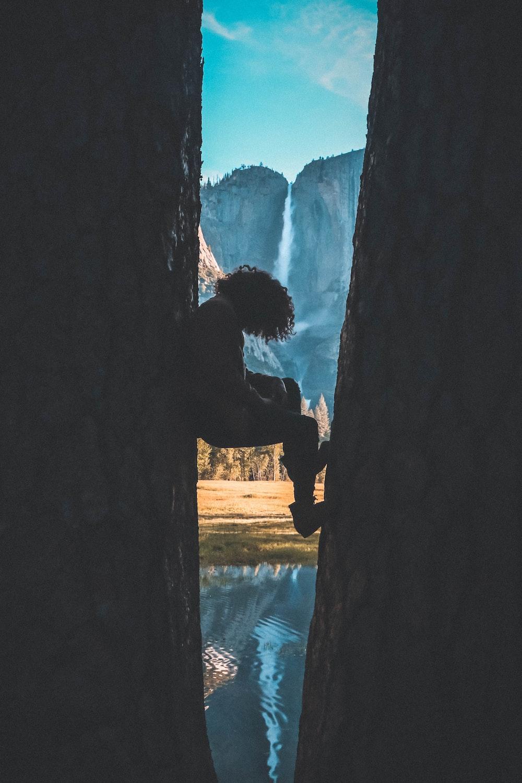 person standing between walls