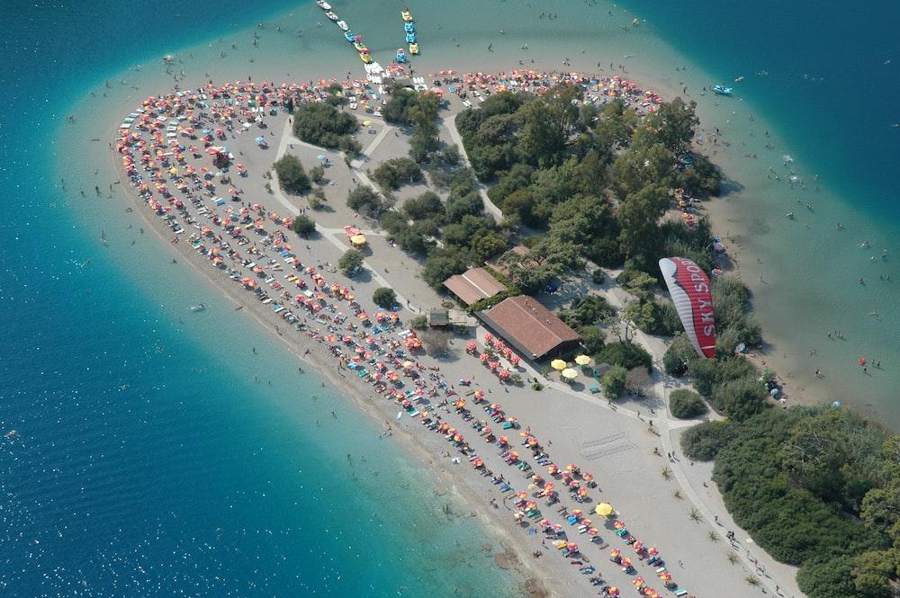 Drone view of a crowded sand beach in Ölüdeniz