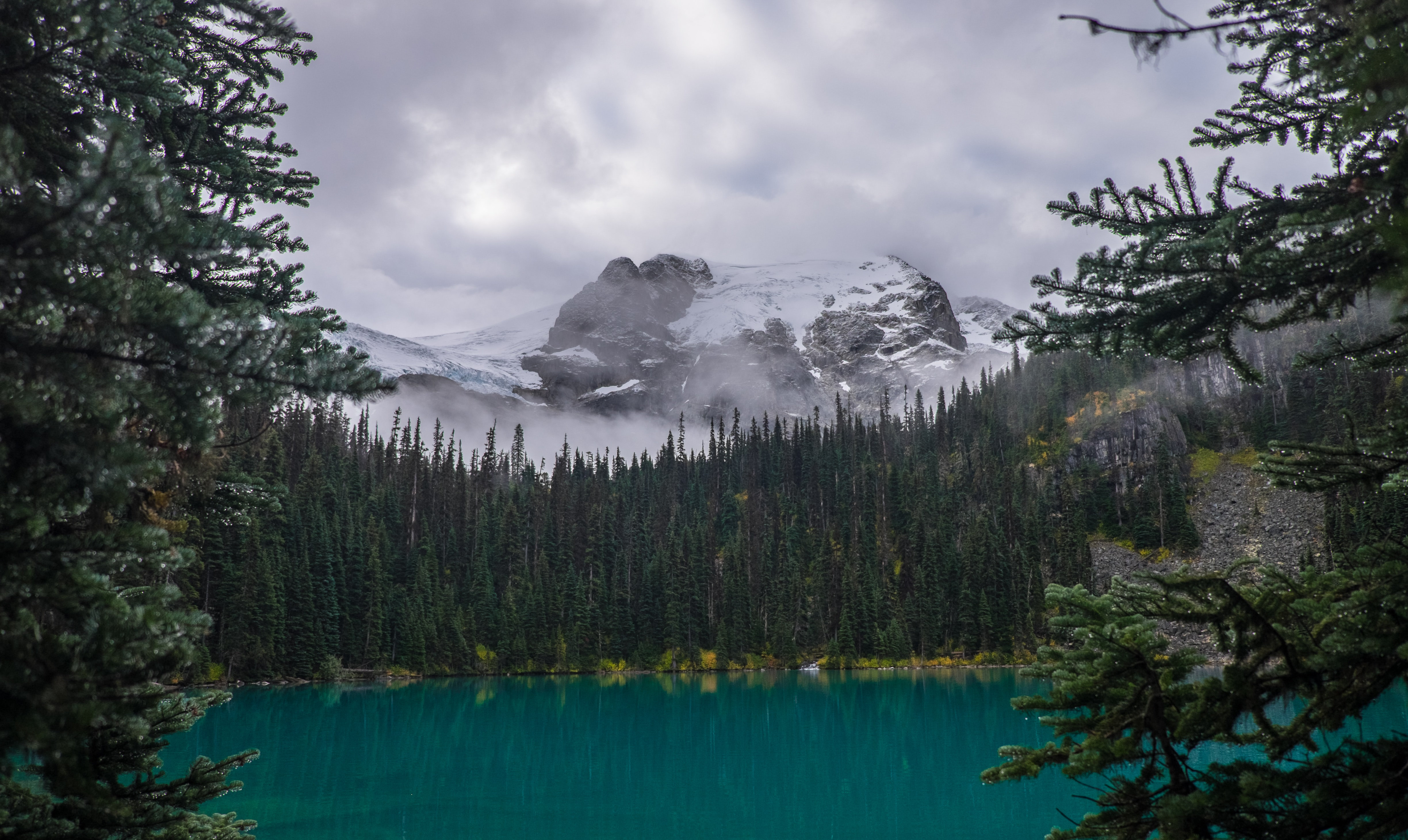 A hidden lake with forests surrounding it and snow covered mountain in the background with a cloudy sky in Joffre Lakes Trail.