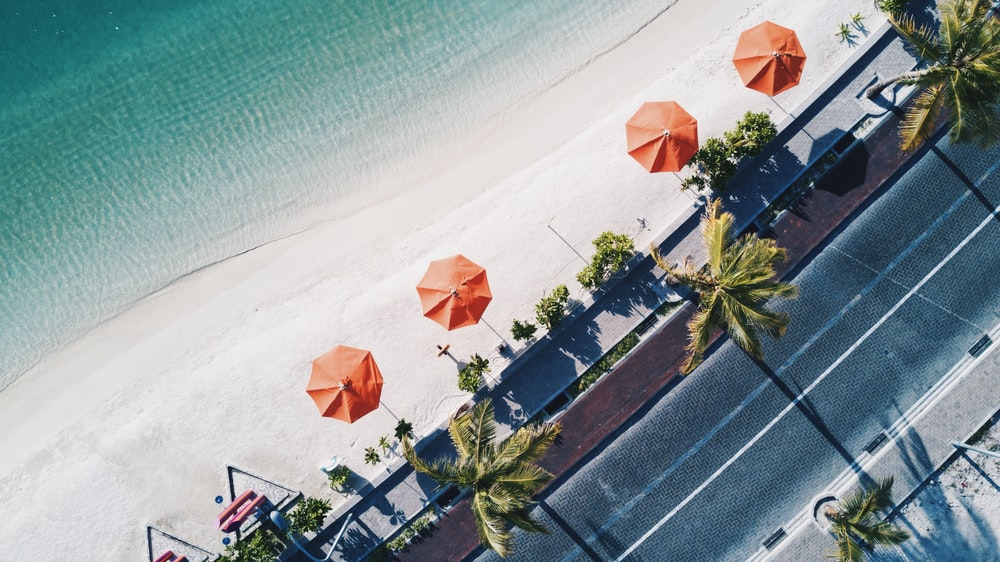 aerial shot of orange umbrellas near shore
