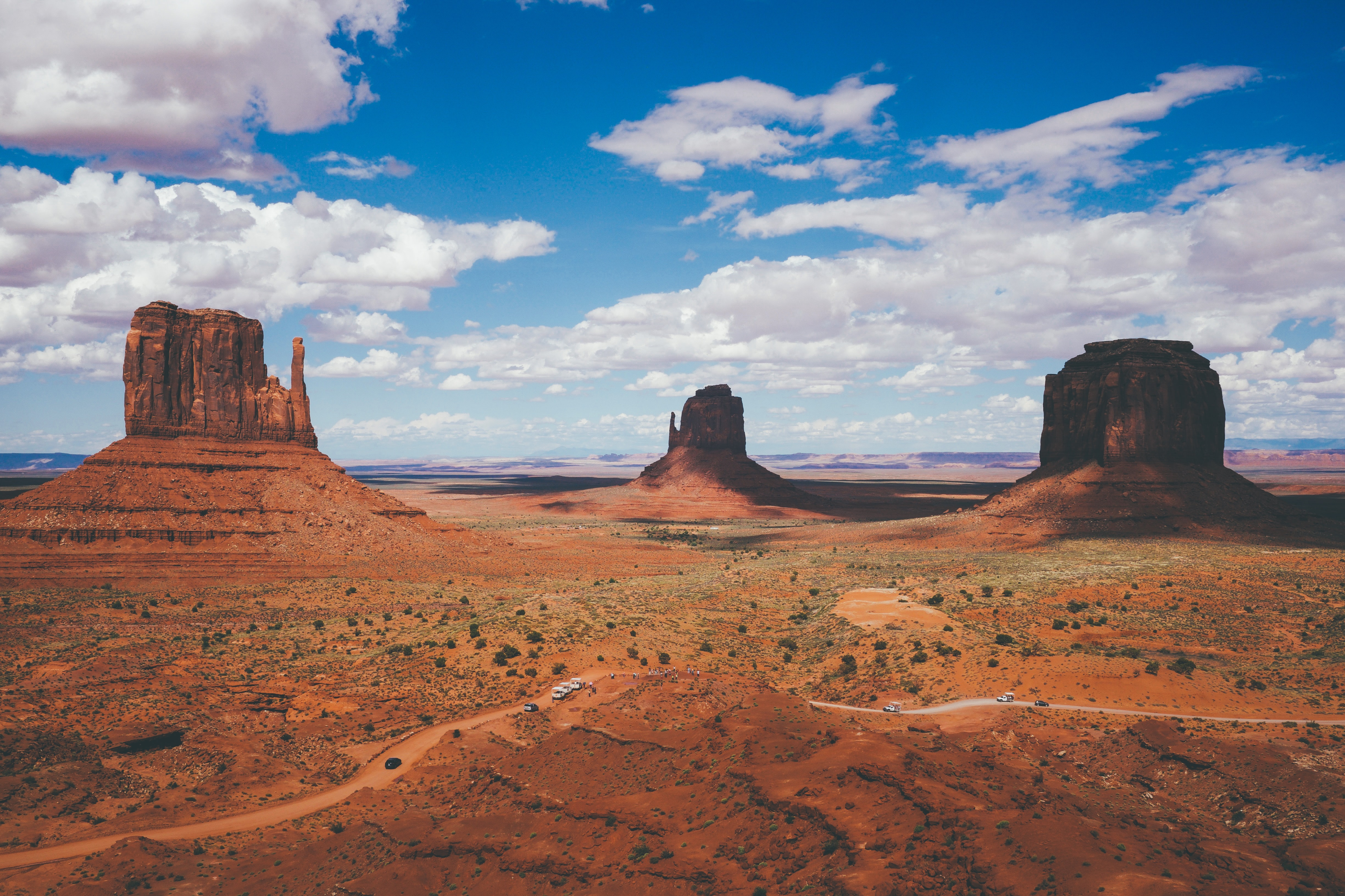 Landscape photo of rocky monuments in the desert at the Oljato-Monument Valley