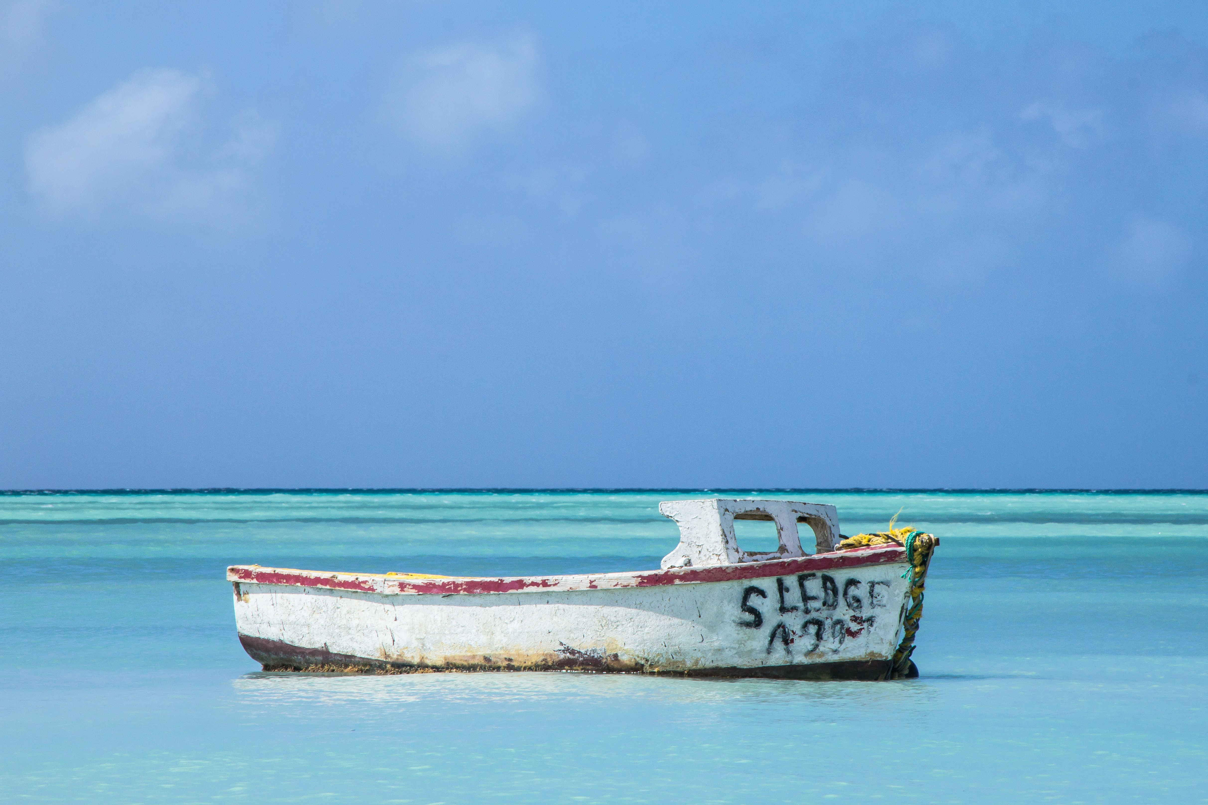 white and red wrecked boat on clear shore under blue sky nature photography