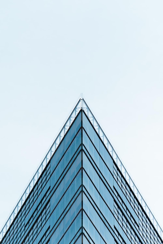 blue building glass mirror