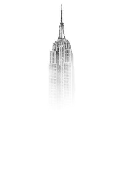Empire State Building in New York enveloped in thick mist