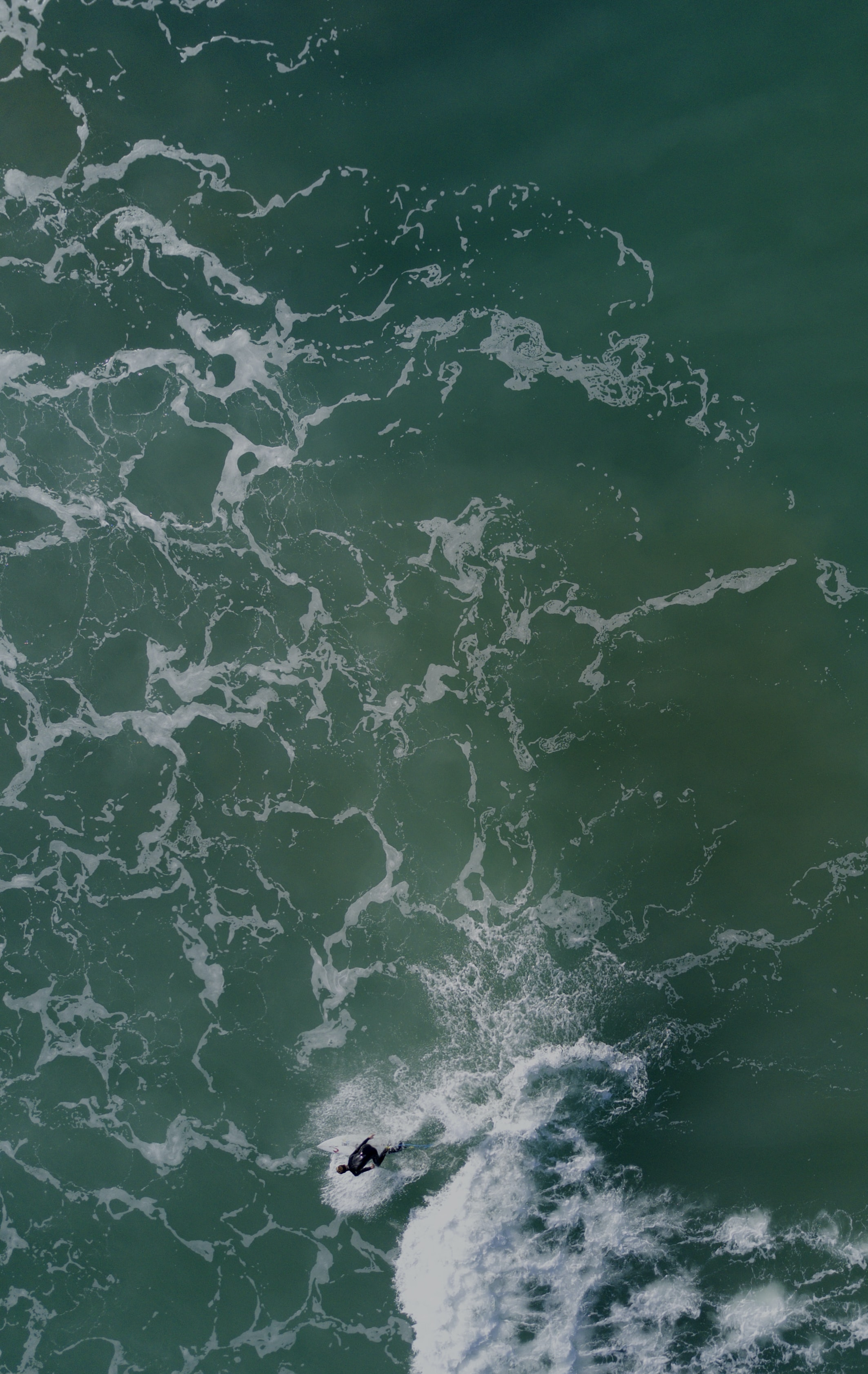 An overhead drone shot of a man in a wetsuit, riding a surfboard in the sea at Gisborne, New Zealand
