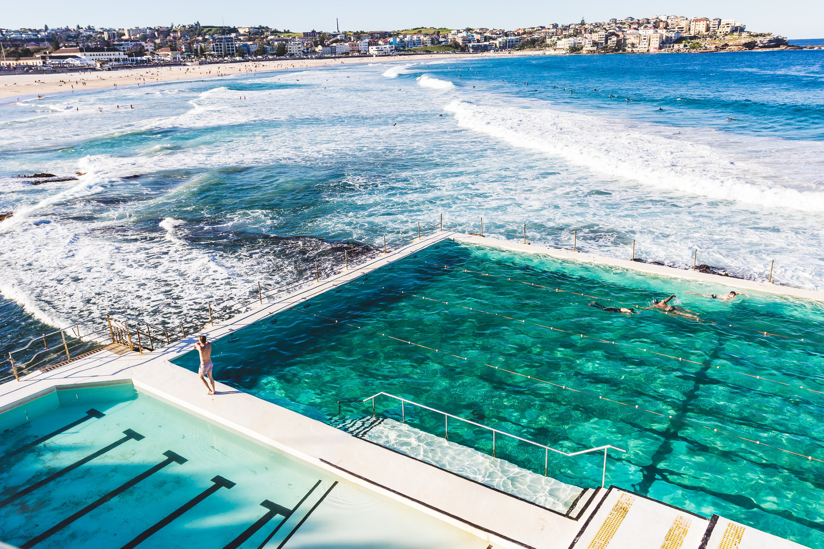 View of the outdoor pool by the ocean at Bondi Beach
