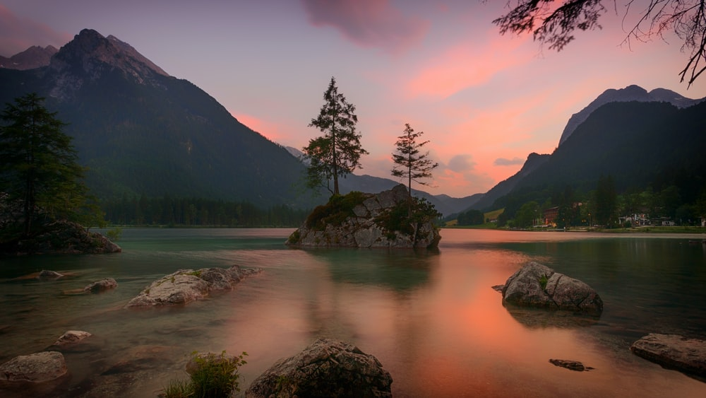 landscape photography of tree on rock formation surrounded by body of water near mountain during sunset
