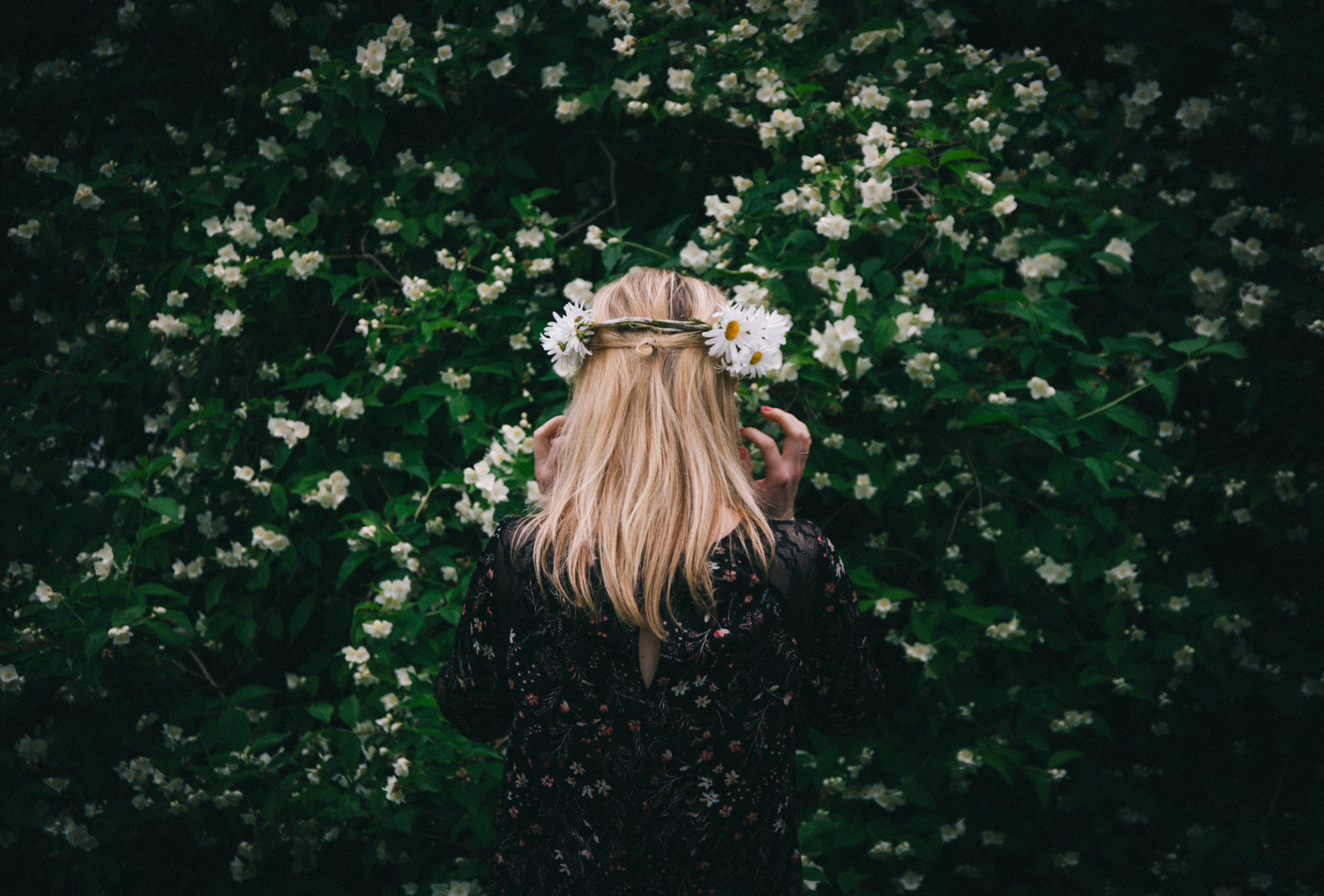 A blonde woman in a crown of white flowers in a green garden