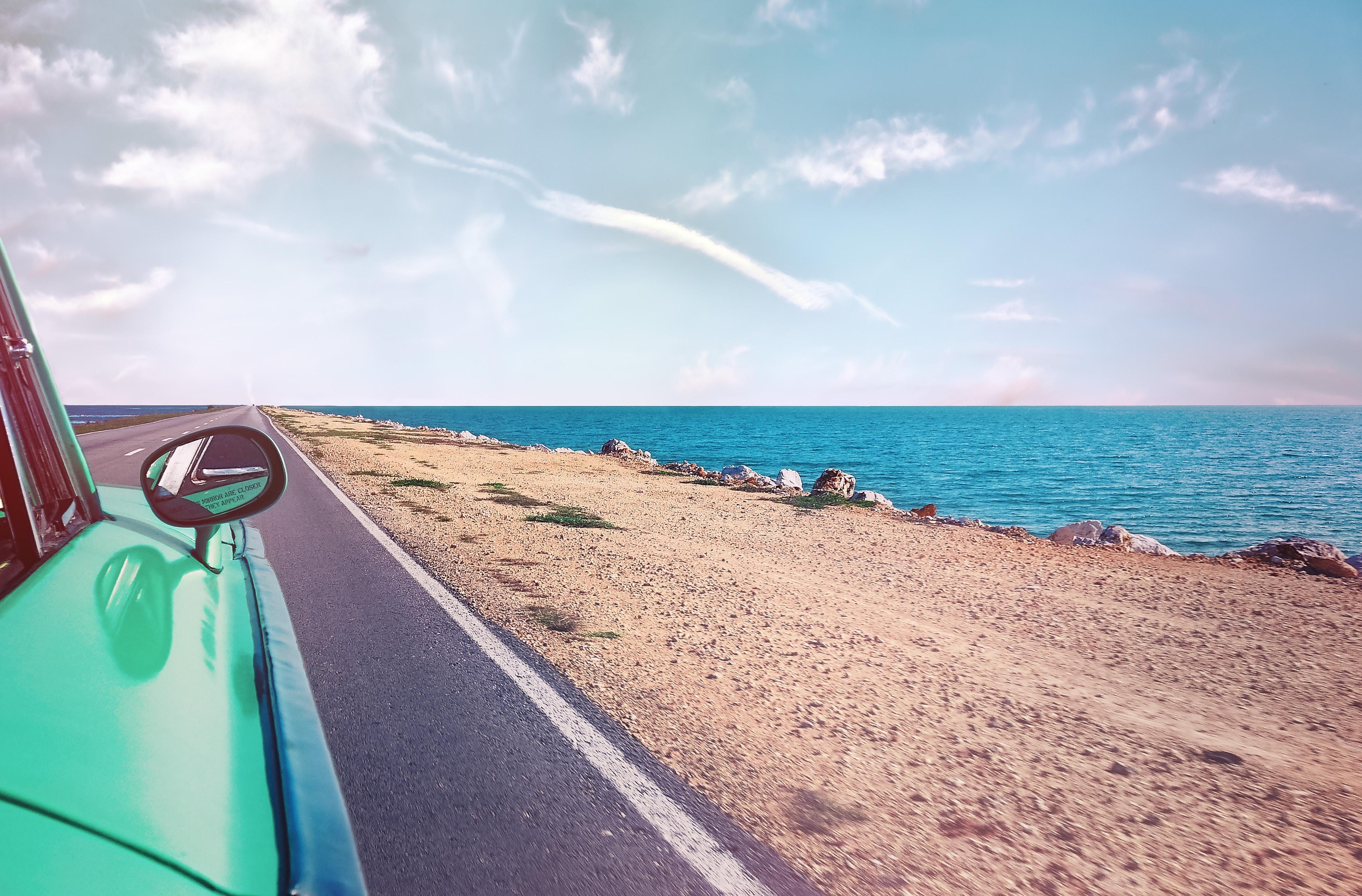 road next to beach