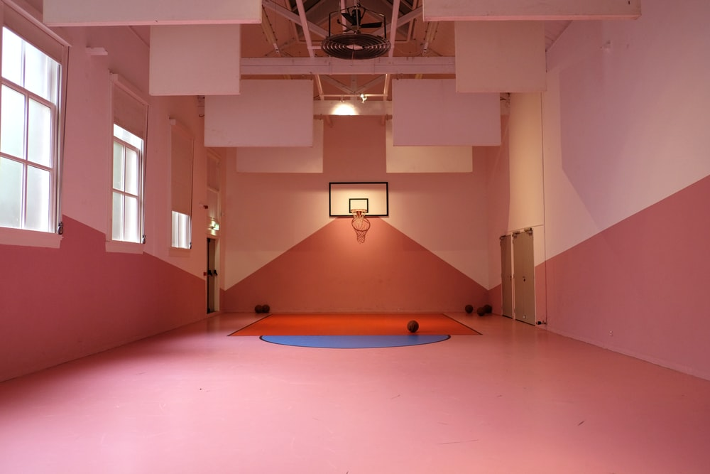 basketballs on court