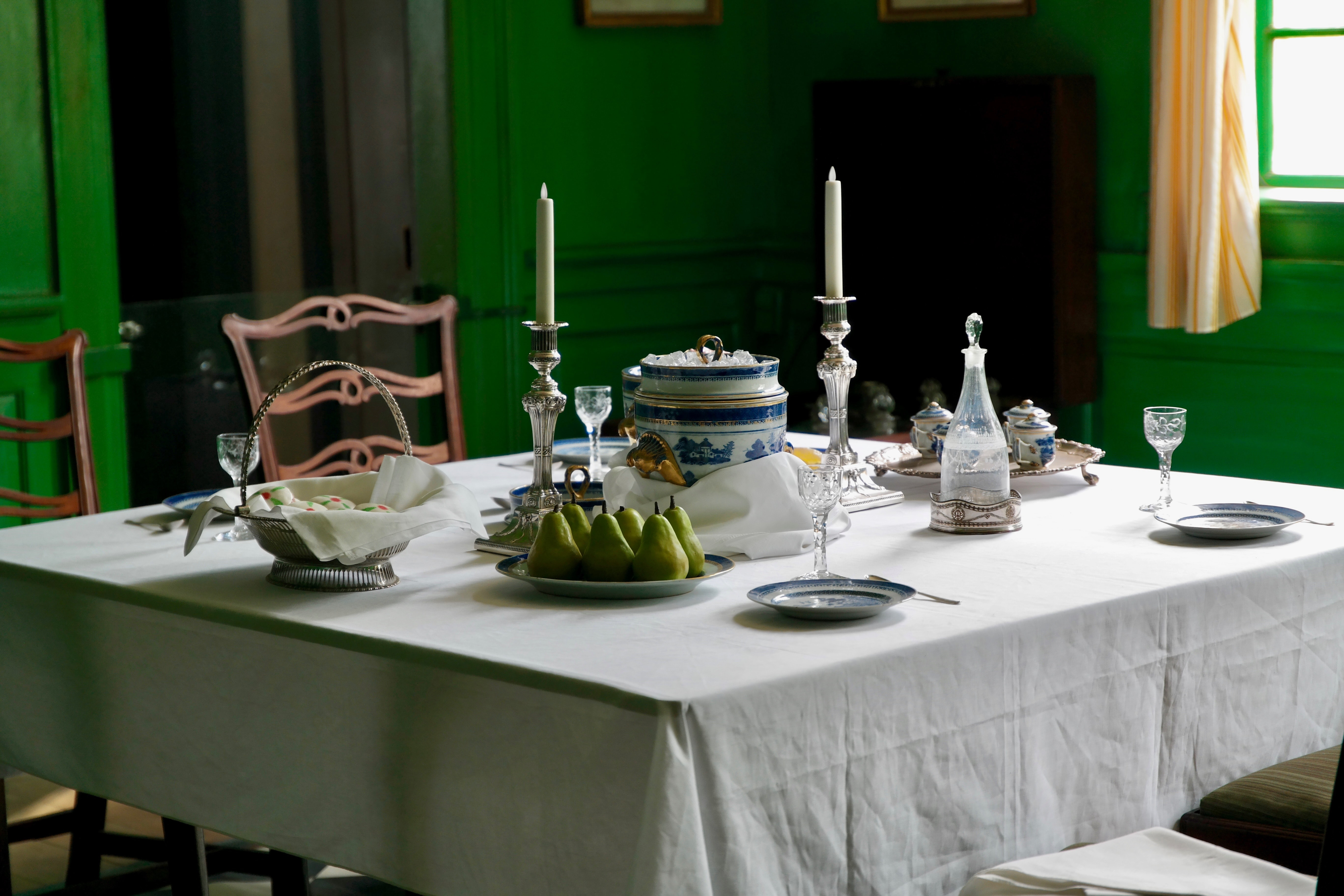 A set table with old-fashioned tableware