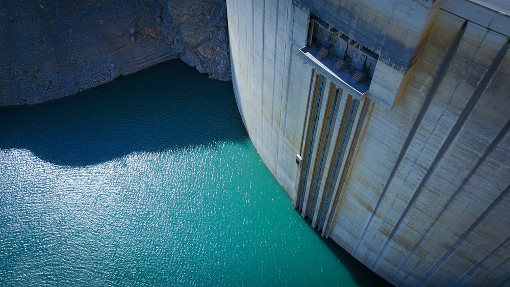 aerial photography of dam