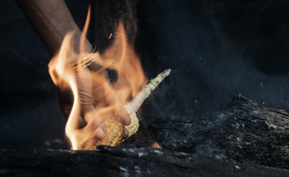 time-lapse photography of person holding corn with fire