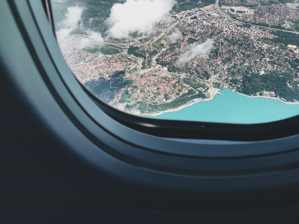 aerial view of city from airplane's window