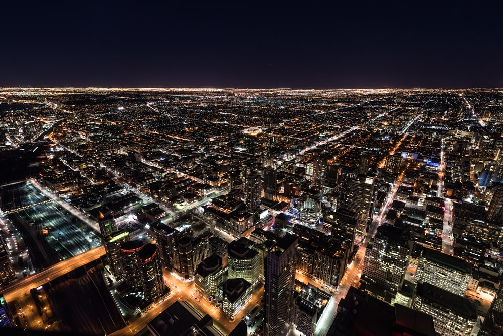 aerial photography of high-rise building during nighttime