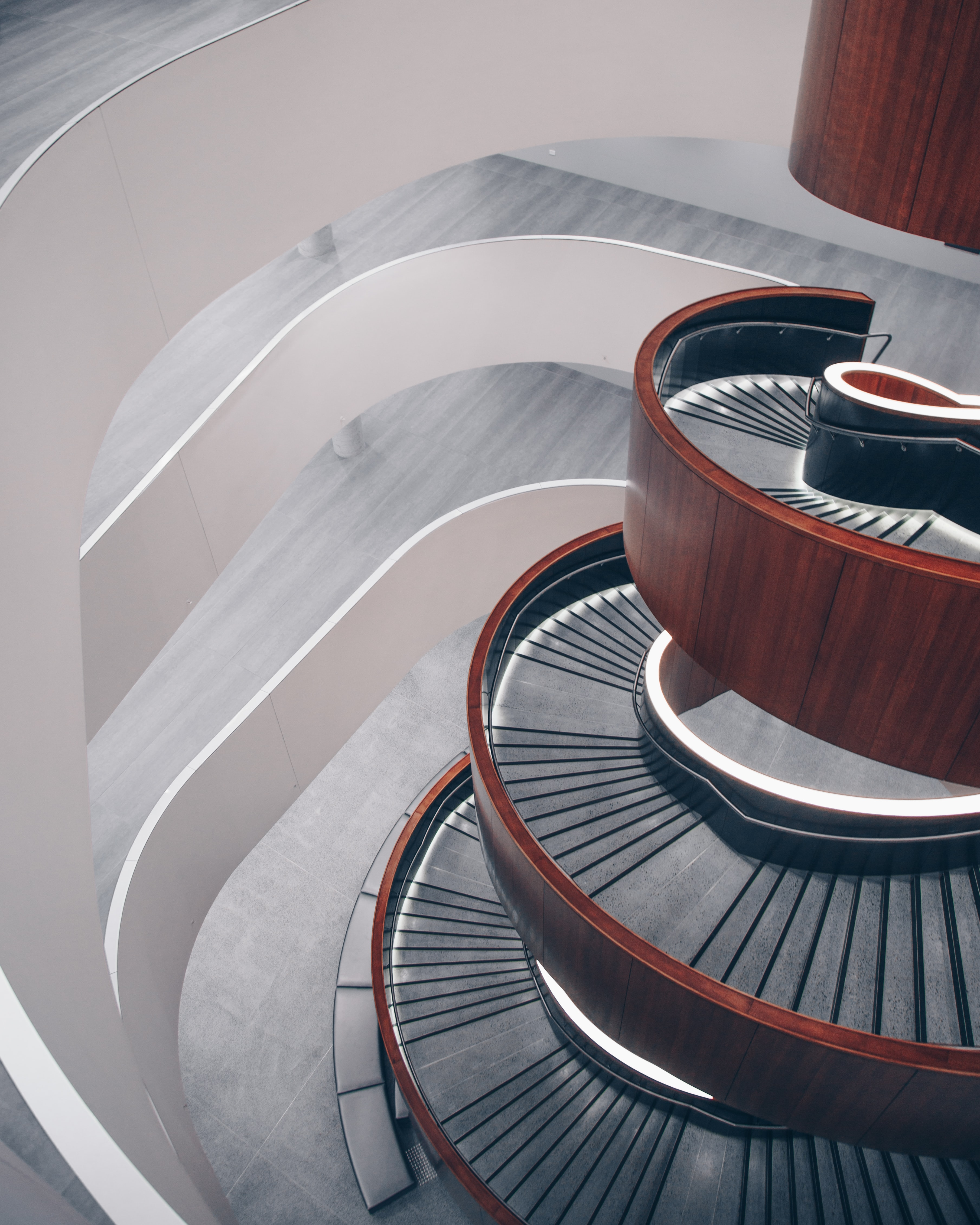 An empty spiral staircase in a modern building in Sydney