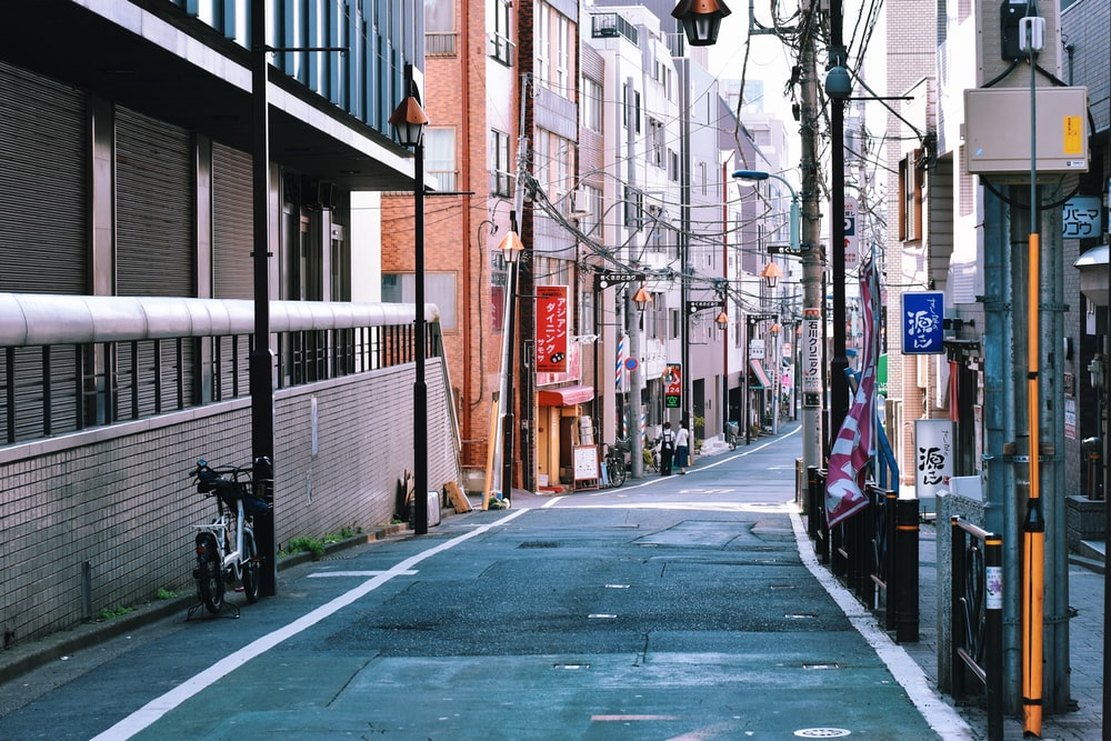 empty pathway between buildings