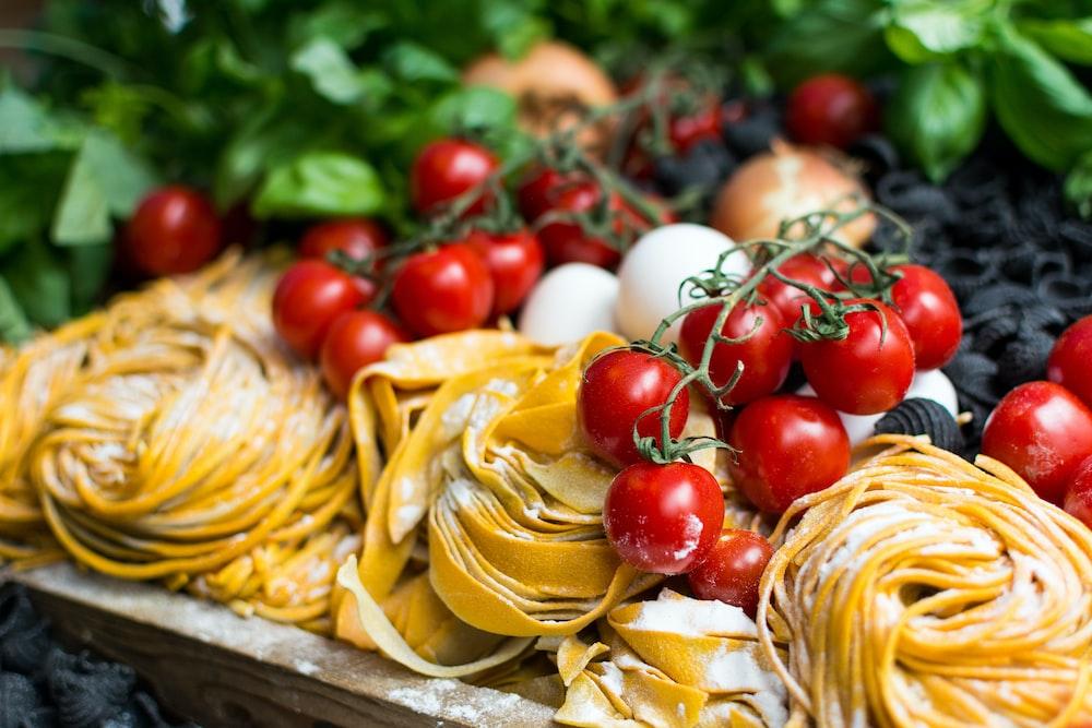 yellow pasta and cherry tomatoes