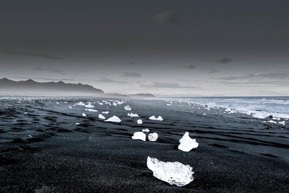 landscape photography of icebergs