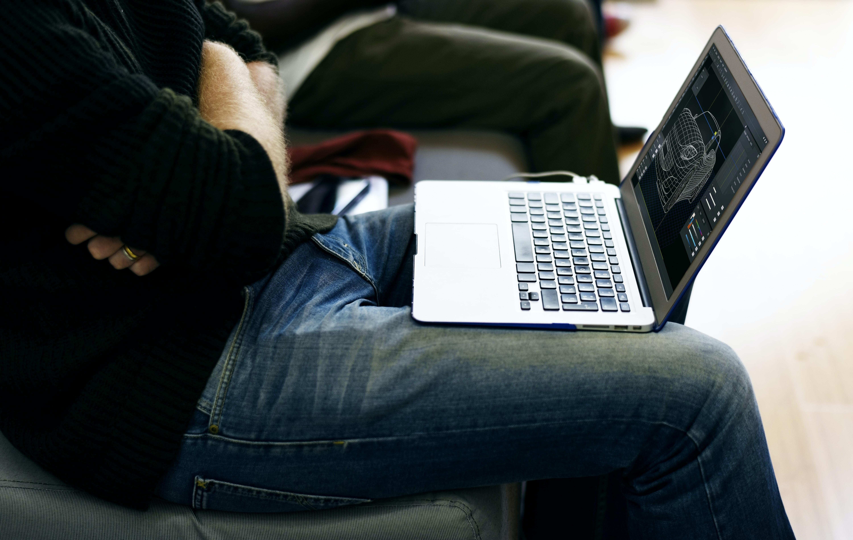 laptop computer on person's lap