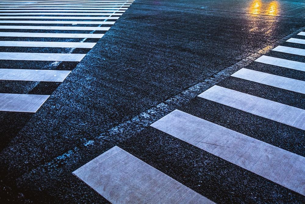 white and black street line photo