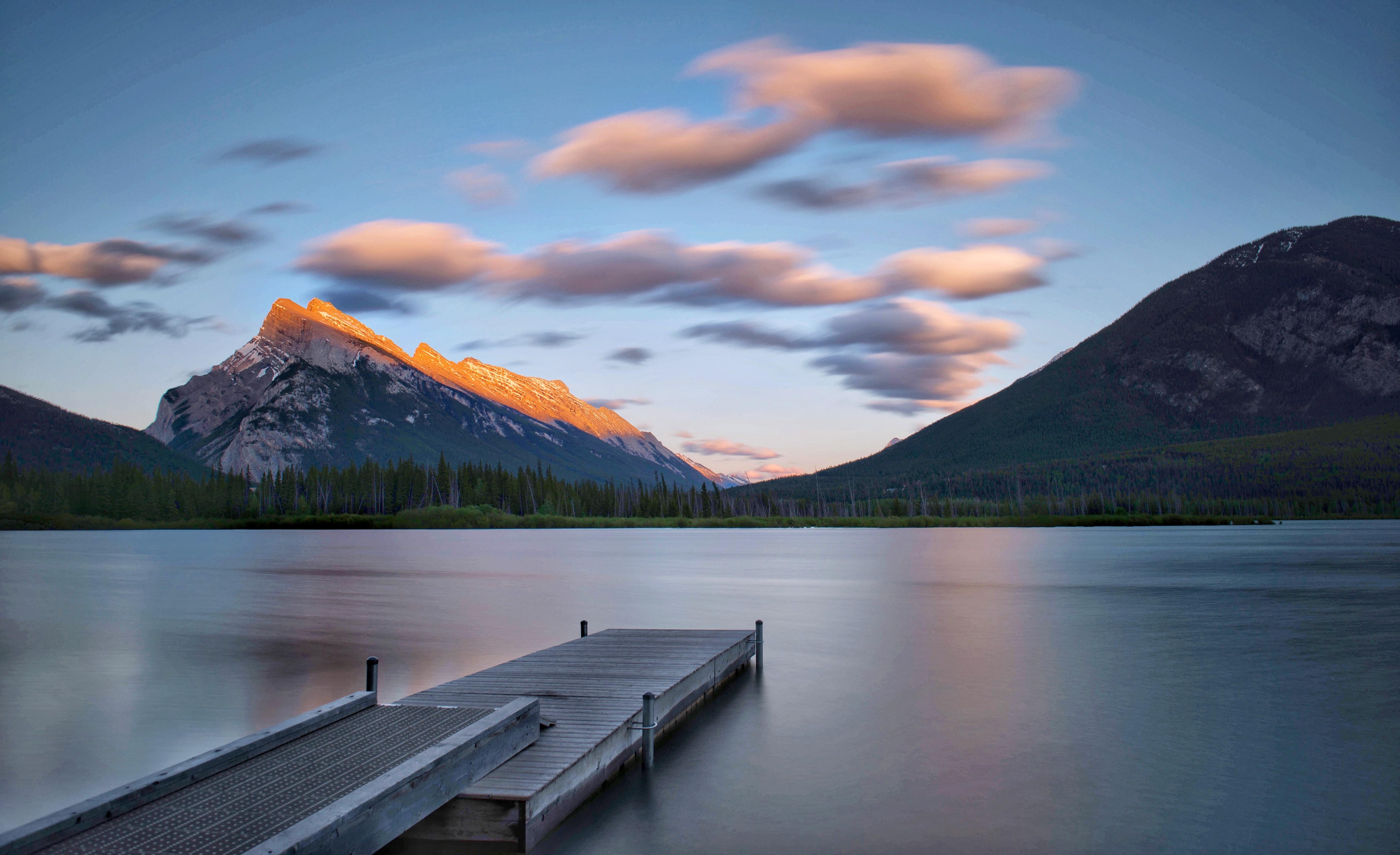 dock near mountain
