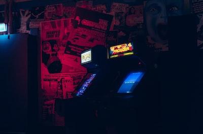two arcade cabinets arcade teams background