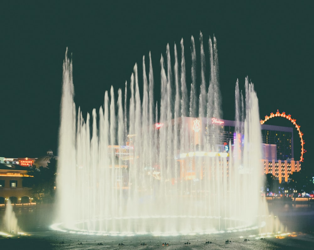 water fountain during night time