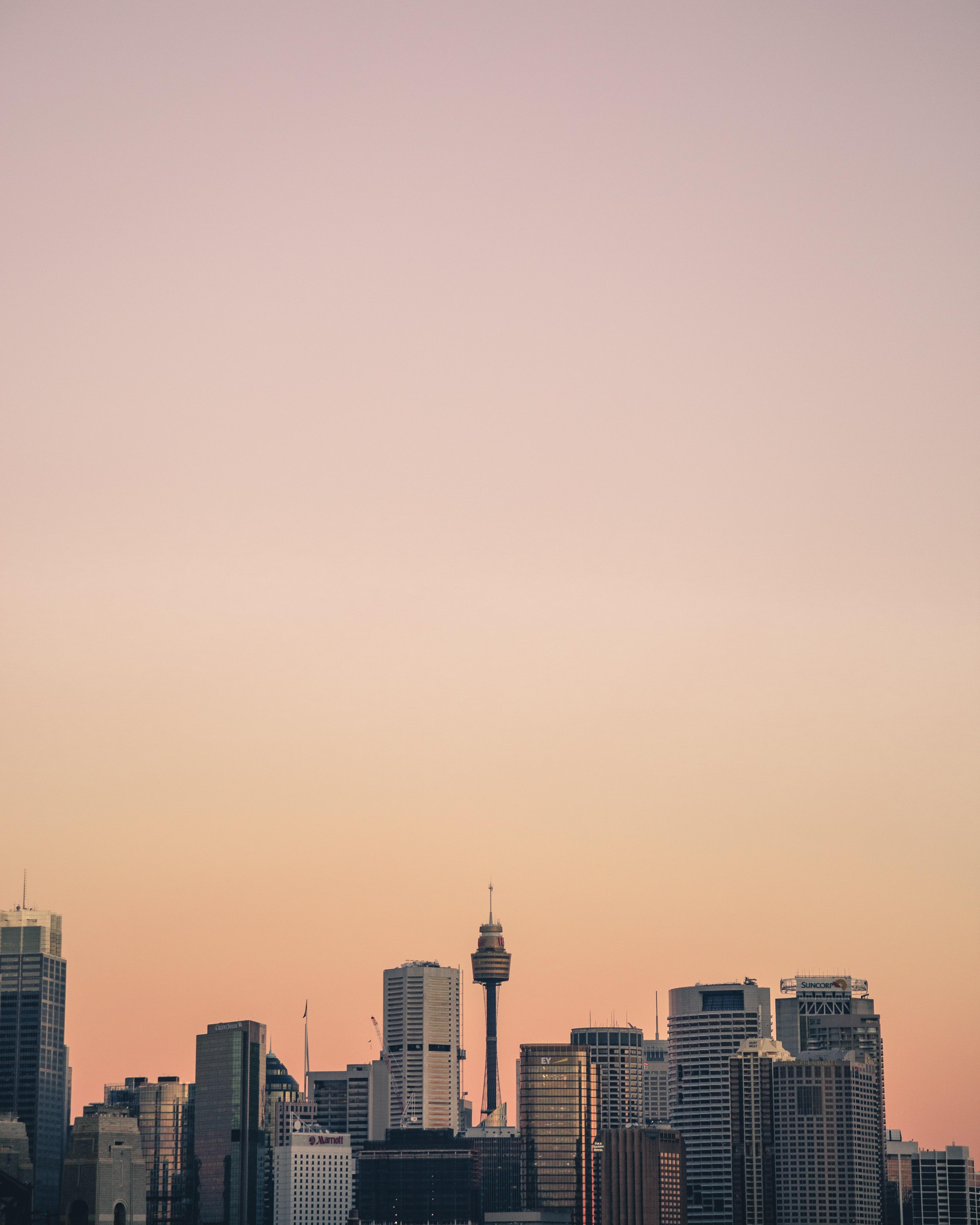 A dusky sky over the skyscrapers of Sydney