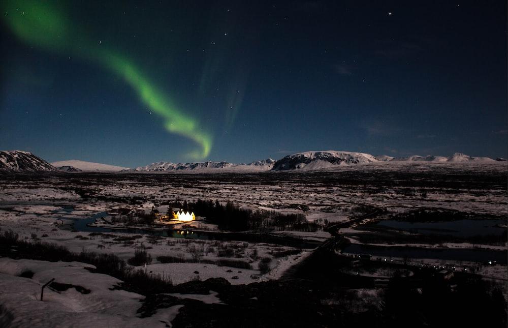 aurora borealis appeared on sky