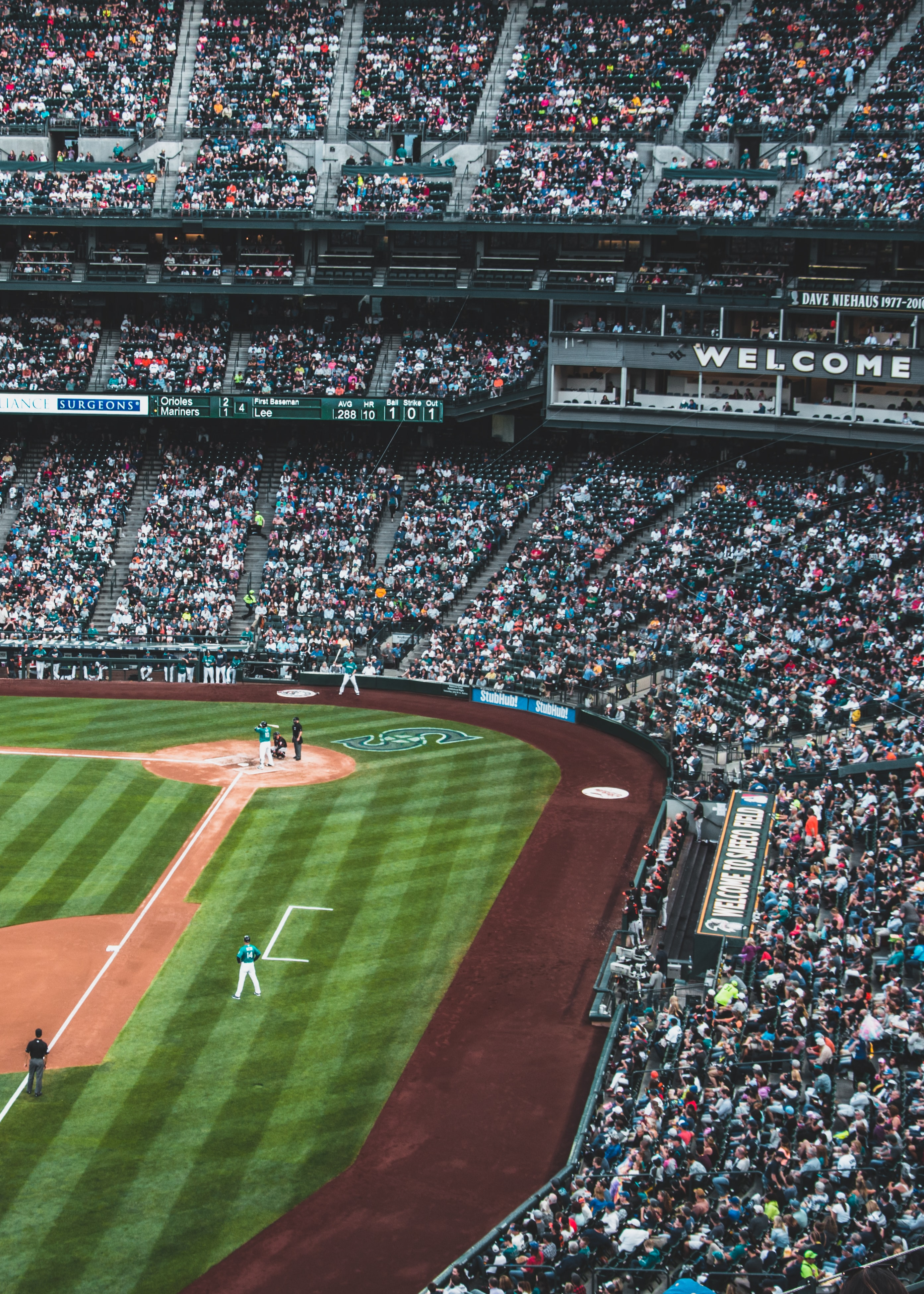 A drone shot of MLB teams playing at Safeco Field in Washington