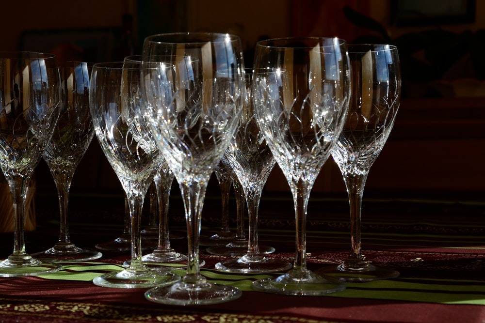 clear wine glass set