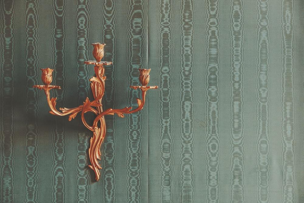 orange candlestick holder