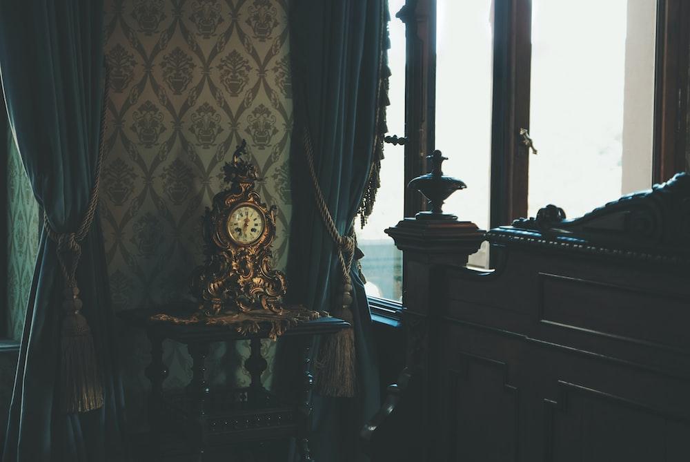 brown framed clock