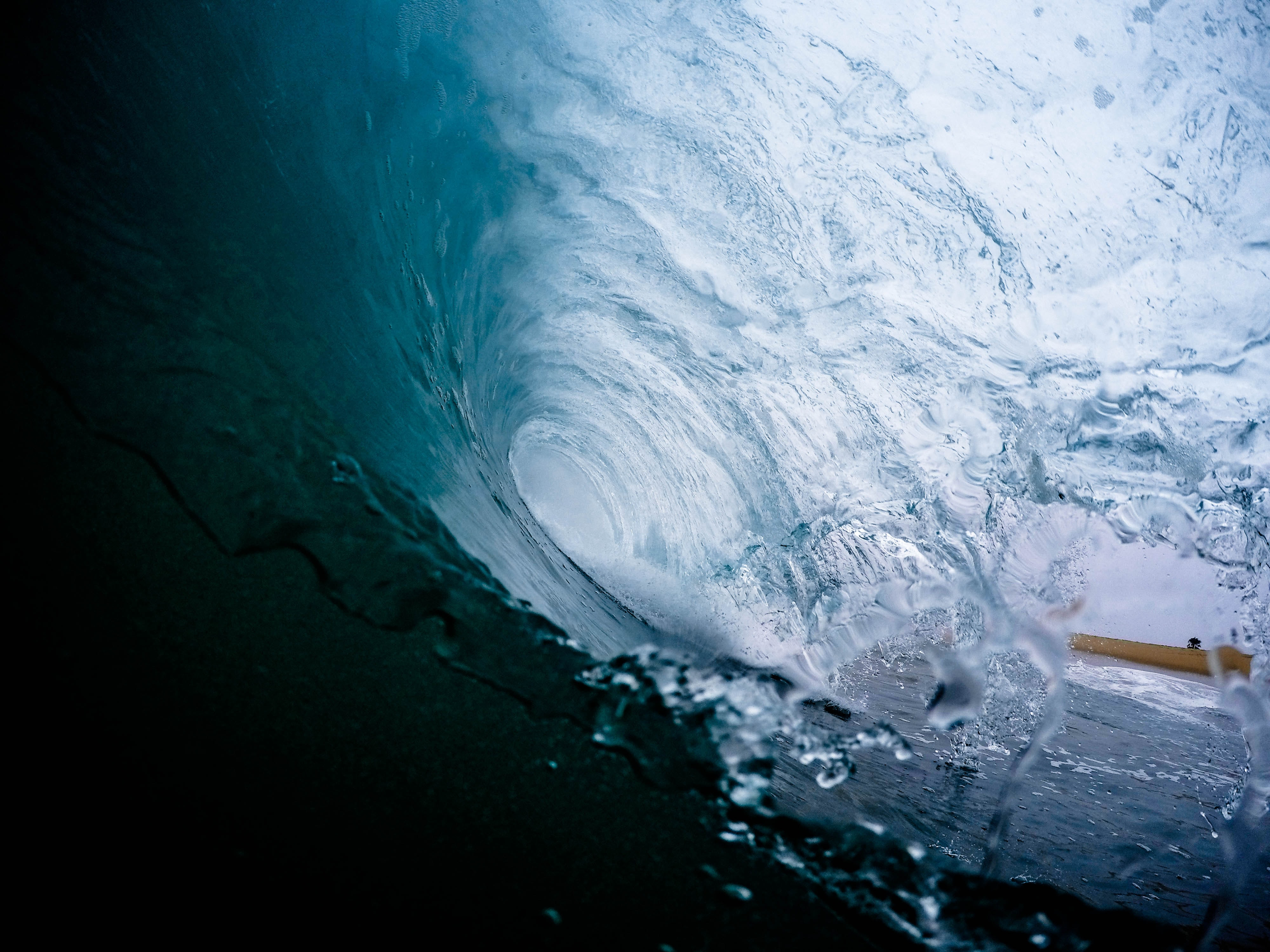 View from the inside of a surf wave at Newport Beach