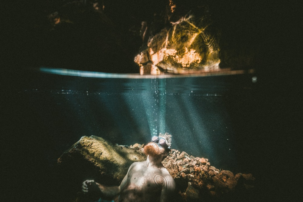 underwater photography of diver