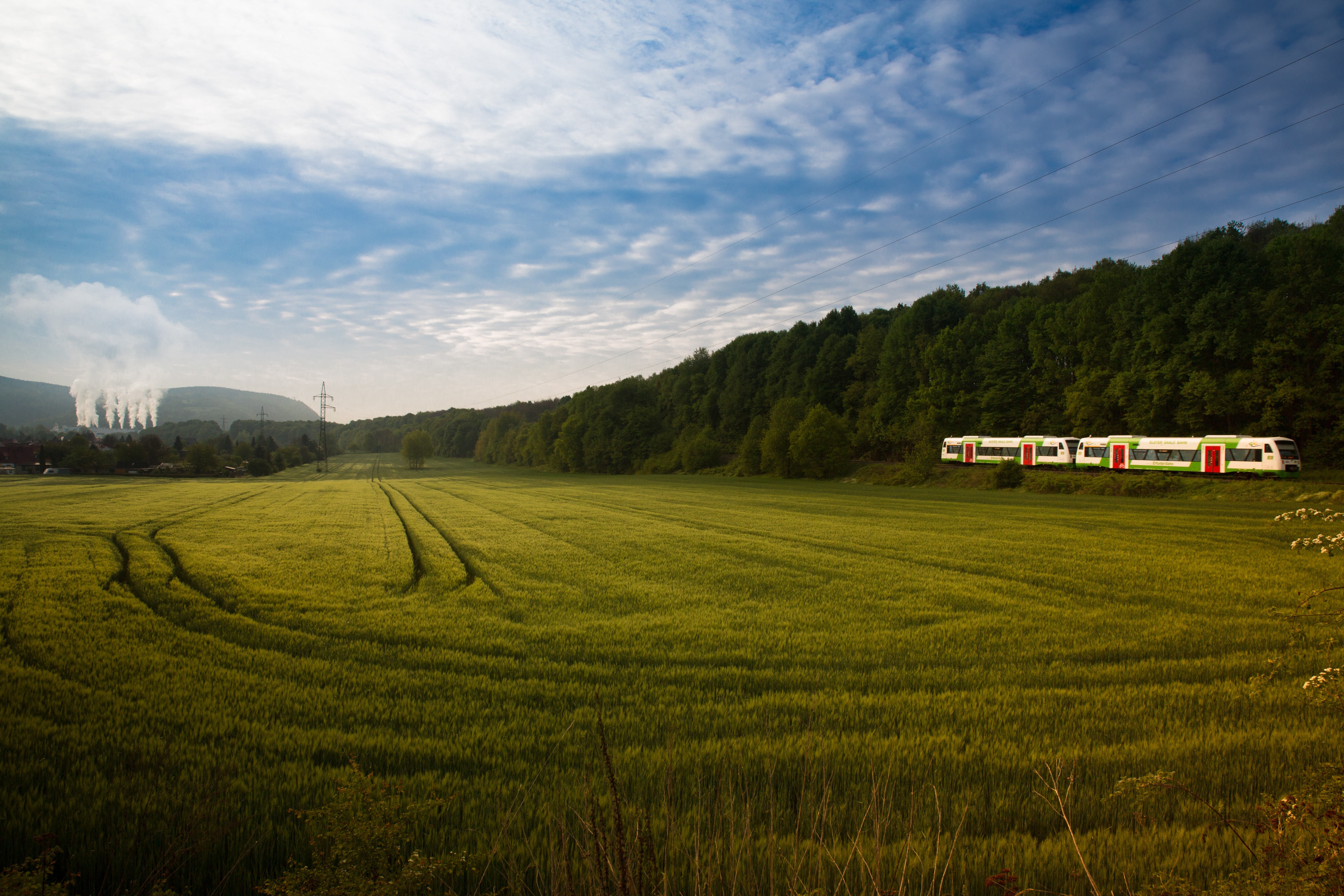 grassland surrounded with trees near train tracks with train