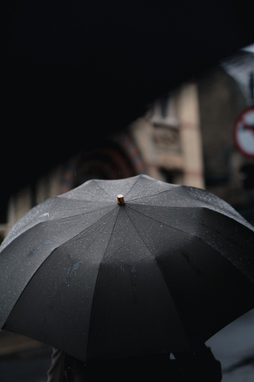 person under black umbrella